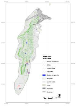 Mapa de la isla localizando actividades. Círculos: lugares de alojamiento. Líneas: redes de niebla.